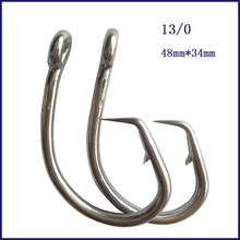 цена на 20pcs 13/0 Stainless Steel Tuna Circle Fishing Hook Barbed Fishing Hook Free Shipping