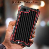 Super Shockproof Dustproof Carbon Fiber Gorilla Tempered Glass Aluminum Metal Armor Case For Apple Iphone 7