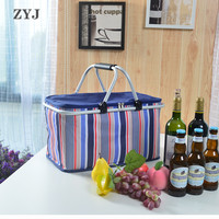 ZYJ Outdoor Foldable Picnic Cans Food Basket Cooler Bag Wine Lunch Thermal Folding Insulation Tote Cool Bag Pack 32L