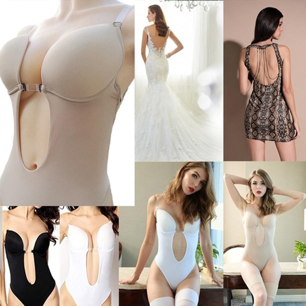 Party Dress Bodysuit Underwear Women Body Shaper Slips Backless Bra G-string Waist Trainer U Plunge Underdress Shapewear