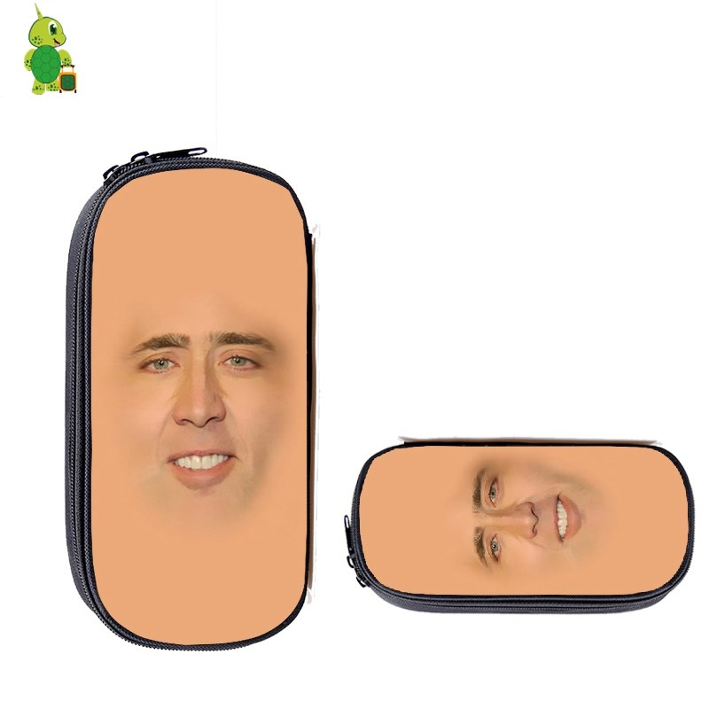 Nicolas Cage Face Makeup Bag Teenage Boys Girls Pencil Box Kids Large School Supplies Stationery Storage Bag Cosmetic Cases