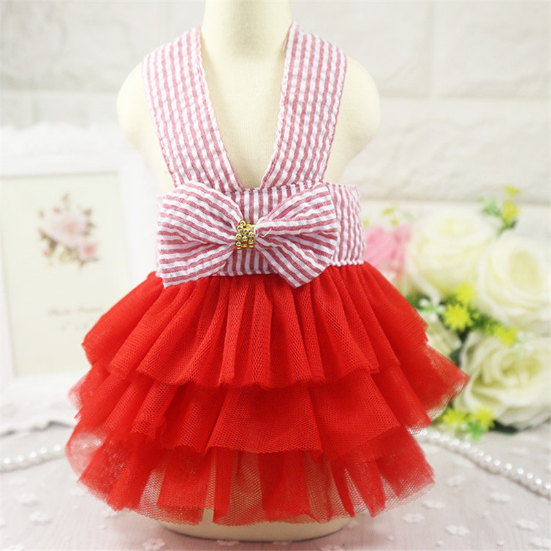 2019 Pet Clothes Sweet Bowknot Small Dog Skirt Girl Tutu Clothing Puppy Cat Sleeveless Apparel Teddy Clothes Harness AprT3 (2)