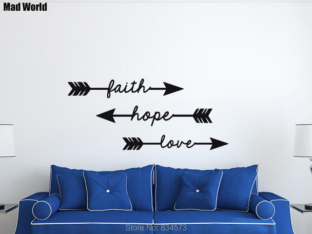 Mad World-Faith Hope Love Arrow Wall Art Stickers Wall Decal Home DIY Decoration Removable & Mad World Faith Hope Love Arrow Wall Art Stickers Wall Decal Home ...