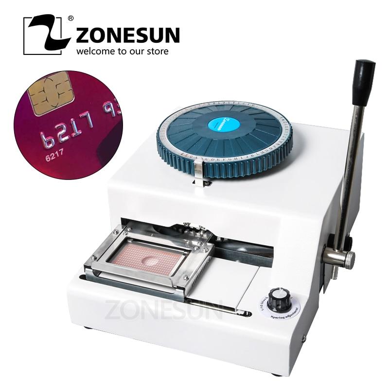 ZONESUN DIY 72 Letter Press Character PVC Card Embosser Stamping Machine Printer Credit ID VIP Magnetic