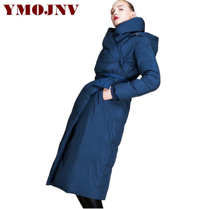 e129c22432663 YMOJNV Brand Design 2018 New Hooded Loose Plus Size Winter Jacket Women  Long Coat Thick Warm Overcoat Gray Duck Down Parka Coats