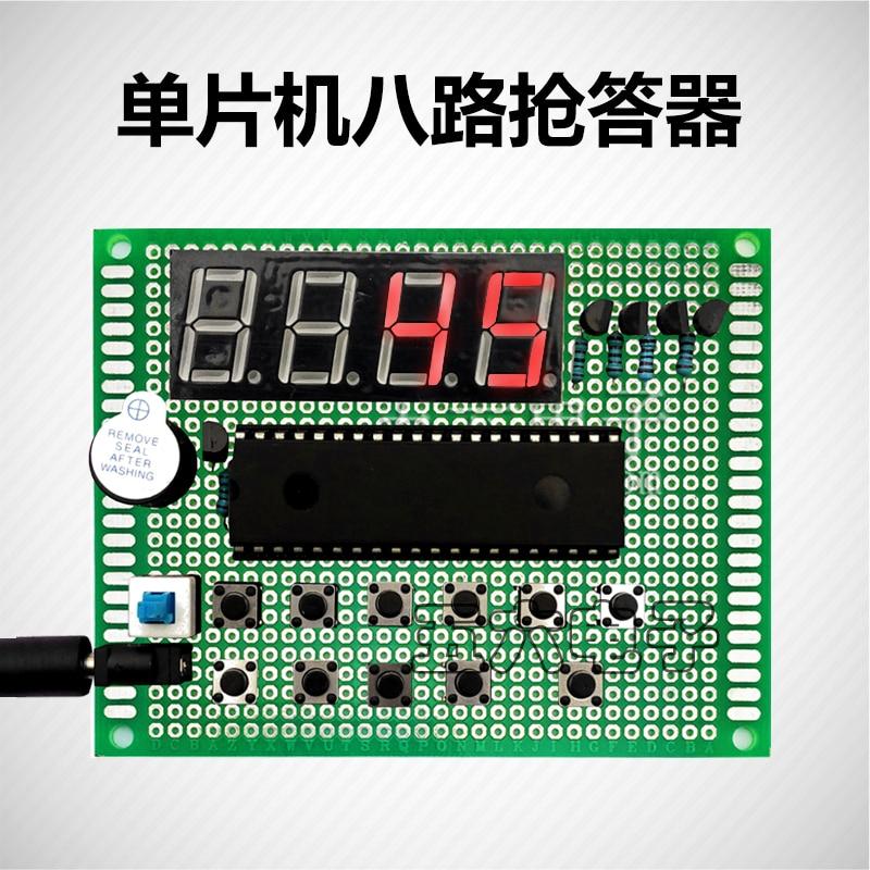 10Kit conception de 51 micro-ordinateur à puce unique dispositif de réponse à huit voies 8 voies universel conseil bricolage Kit de Production de cours électronique
