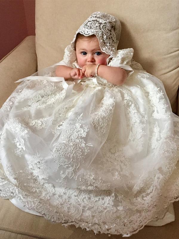 Lace Tulle Beading Bonnet Christening Gown for Baby Girls 2018 Custom Made Infant Baptism Dress White Ivory adorable christening gown white ivory tulle lace baby girls baptism dress with bonnet