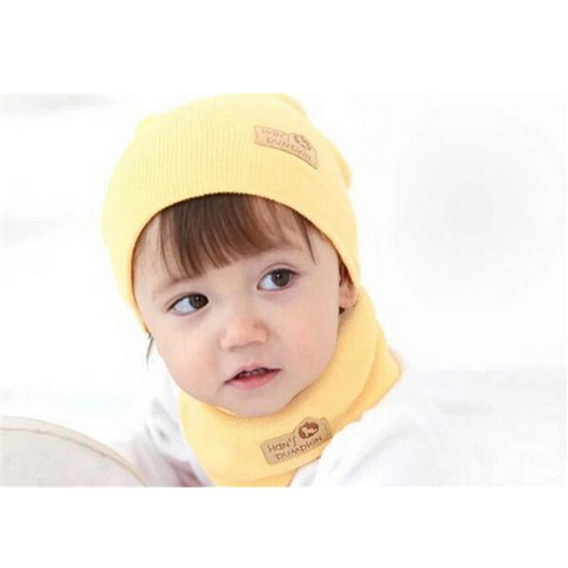 Cute Winter Baby Kids Cotton Knitted Ear Care Hat Neckerchief Two-piece Set Winter Warm Boy Girl Cap Beanies High Quality MZ009 cute puppy baby girl clothes set children hoodies 2017 winter new boy hooded cashmere sweater kids thick two piece suit