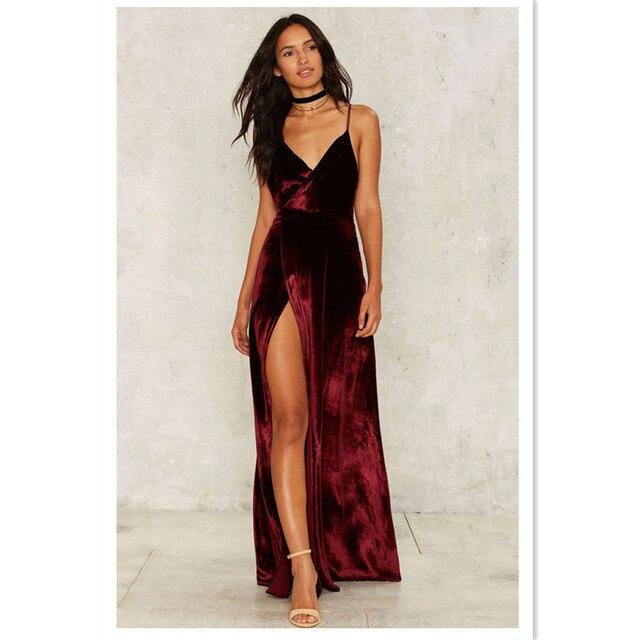 Aliexpress.com : Buy Velvet Sexy Dress Dorsal Side Slit Dress ...