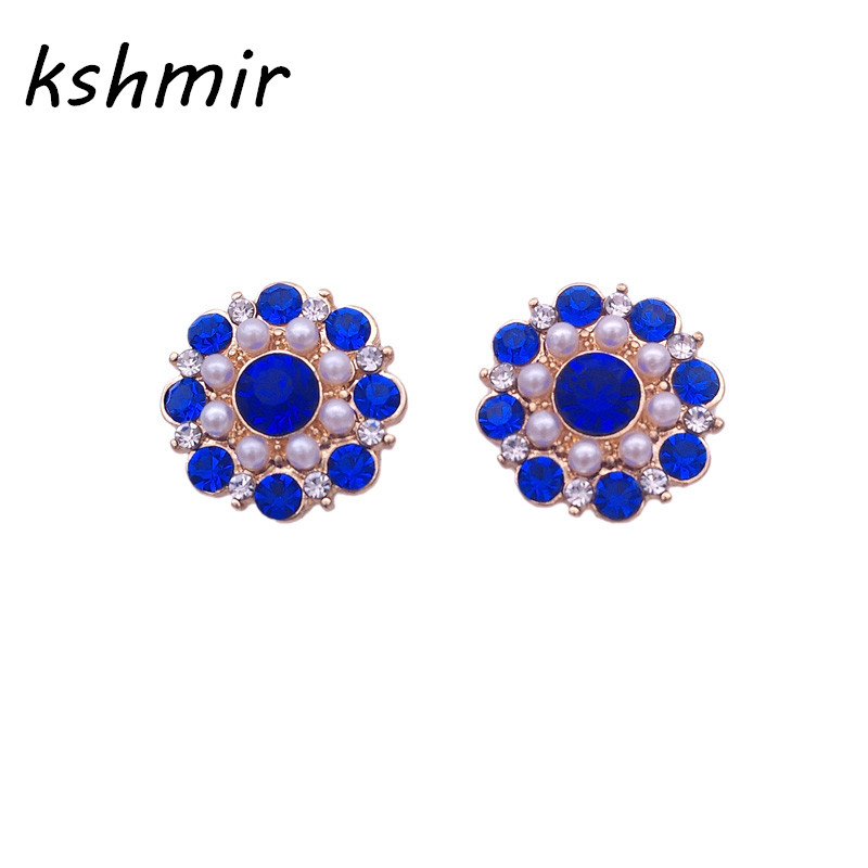 Geometric stud earrings blue pearl earring girl deserve to act the role of fashion simple earrings wholesale