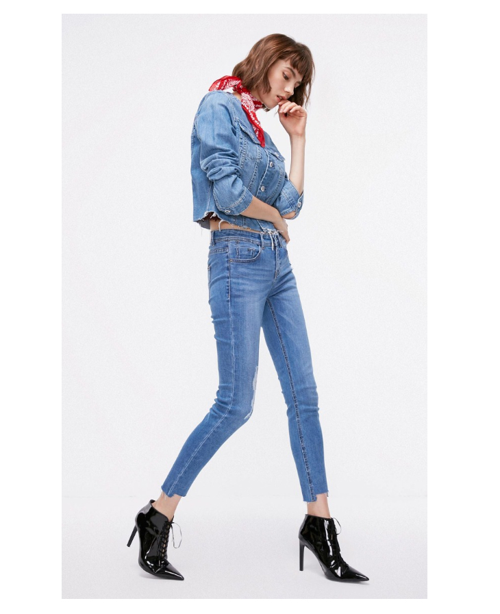 ONLY Women's autumn new low waist slim cropped jeans| 118349591 13