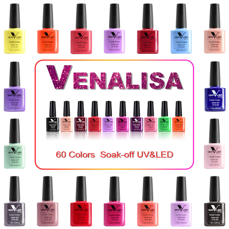 VENALISA Nail Gel Polish 60 Colors Kits Ultra Base Coat Top Coat Soak off UV LED Organic Gel Polish Nail Lacquer Color Varnish 12pcs lot ibcccndc nail gel polish soak off nail lacquer shining colorful uv led lamp 7 3ml nail varnish 79 colors base top coat