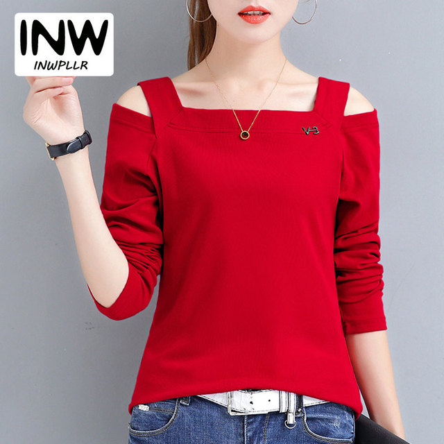 a7a163770 2019 moda mujeres abierto hombro camisetas rojo más tamaño camiseta Poleras  Mujer Otoño de manga larga