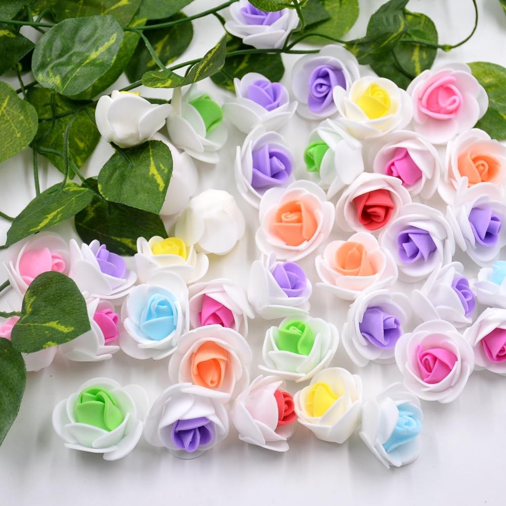 50 шт. пены 2 Цвета белые розы искусственные цветы для Свадебные украшения DIY Скрапбукинг аксессуары венок поддельные Ремесло Цветы