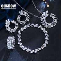 OUSNOW Classic Leaf Austrian Crystal Necklace Earrings Rings Bracelets Set Fashion Brand Ladies Jewelry Sets With White Stones