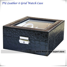 Черный Крокодил Кожа PU 6 Сетка Смотреть Случае с Прозрачным Окном Лучшая Цена Часы коробку с Коллекцией GC02-PU-06F-B9