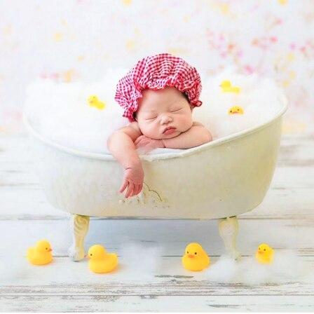 Infant Baby  Bathtub Bathrobe Newborn Photography Props Accessories Backdrop Basket Stuffer Cotton Yellow Duck Toy Decoration