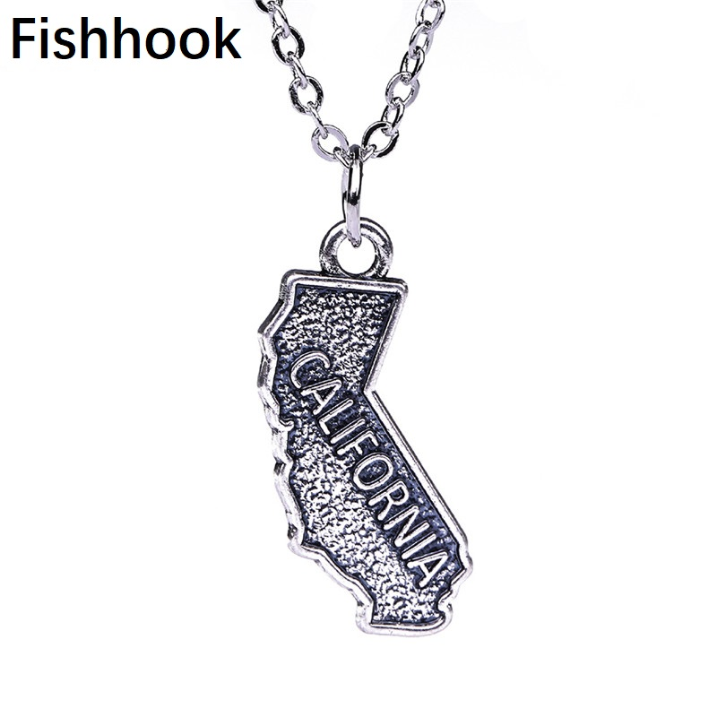 Fishhook Jewelry US State California Map Necklaces&Pendants Double-side Charms Gifts for Man/Women Alloy Zinc Necklace Trendy(China)