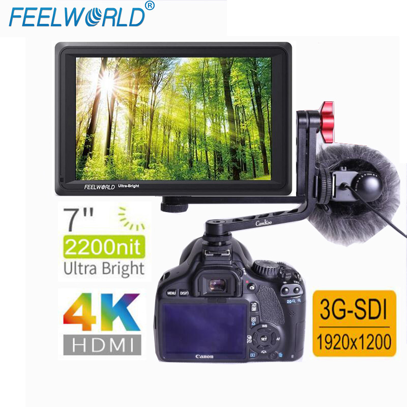 FEELWORLD FW279S with Dual L bracket7 Inch IPS 2200nits 3G SDI 4K HDMI Camera Field Monitor