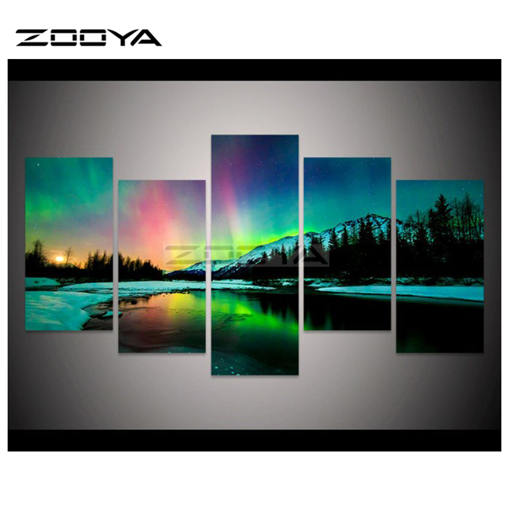 ZOOYA 5pcs Mosaic Full Diamond Embroidery Colorful Aurora Borealis Diamond Painting Cross Stitch Multi pictures Crafts