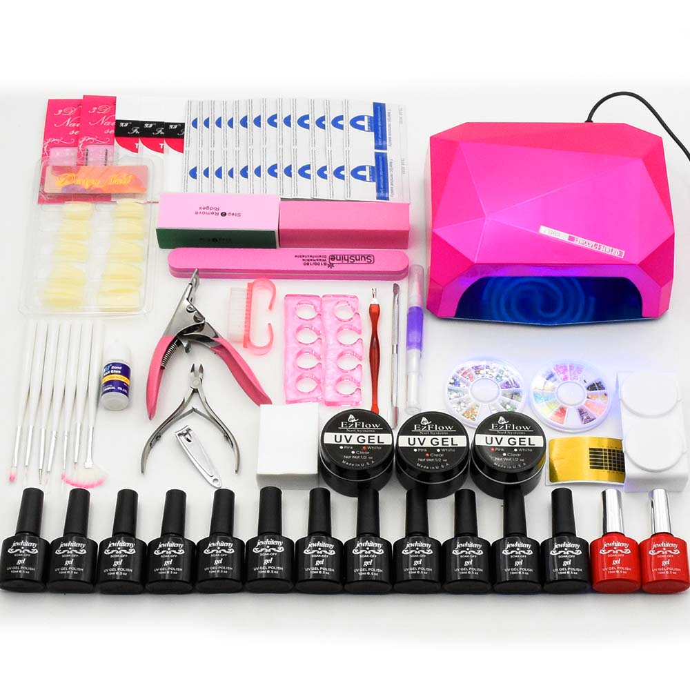 12 colores uv gel polaco 36 w UV lámpara LED base gel capa superior barniz builder gel manicura uñas arte Herramientas Juegos kit de gel de uñas
