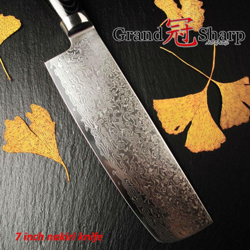 GRANDSHARP 7 Inch Nakiri font b Knife b font 67 Layers Japanese Damascus Stainless Steel VG