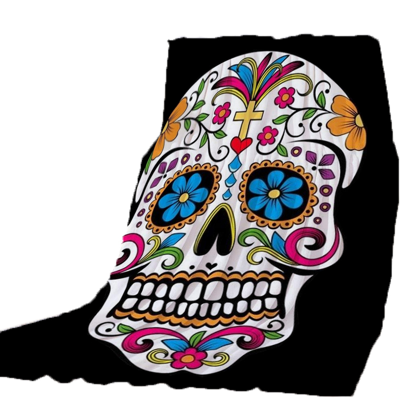Thicking Blanket for Bed Colorful Flowers Skull Happy Halloween BeachTowel For Kids Throws bedsheet Travel