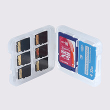 1pc 8 in 1 Protector Holder Plastic Transparent Micro For SD SDHC TF MS Memory Card Storage Case Box Bag(China)