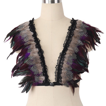 JLX.HARNESS Womens Angel feather bra Body Harness top Shawl cape feather Goth Gypsy Feather Wedding Wing Festival Rave Feather фото