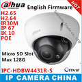 New arrival Dahua IPC-HDBW4431R-S replace IPC-HDBW4421R H2.65 H2.64 4MP IK10 IP67 IP camera DH-IPCHDBW4431R-S with POE SD slot
