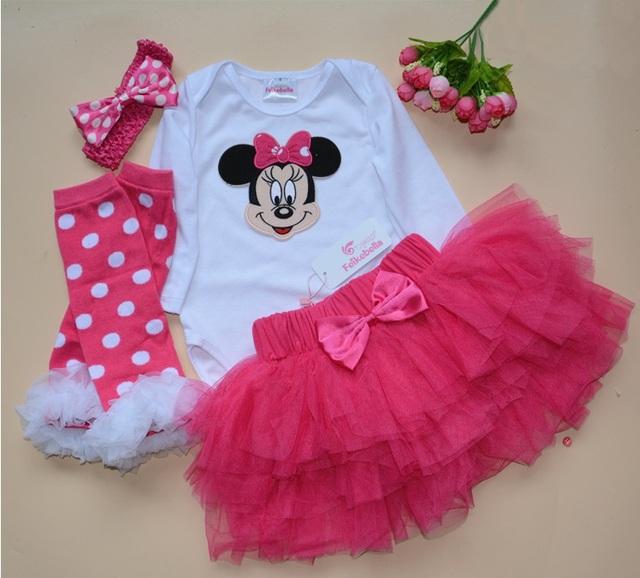 Primer recién nacido de la ropa del regalo bebés del algodón del vestido Mesh Ruffle vestidos de bautizo 4 unids body Tutu Skirt Set