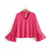 2017 New Fashion Women Blouses Shirts Halter V Collar Neck Long Flare Sleeve Rose Red Color