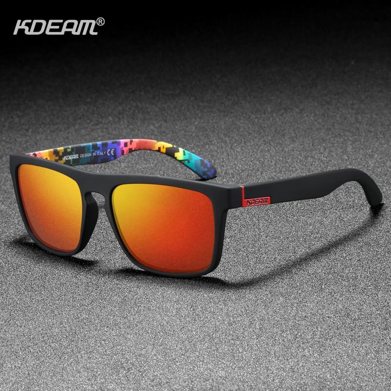 KDEAM Polarized Designer Square Sunglasses Men Or Women Elastic Paint Frame Mirror Sun Glasses 17 Colors Available