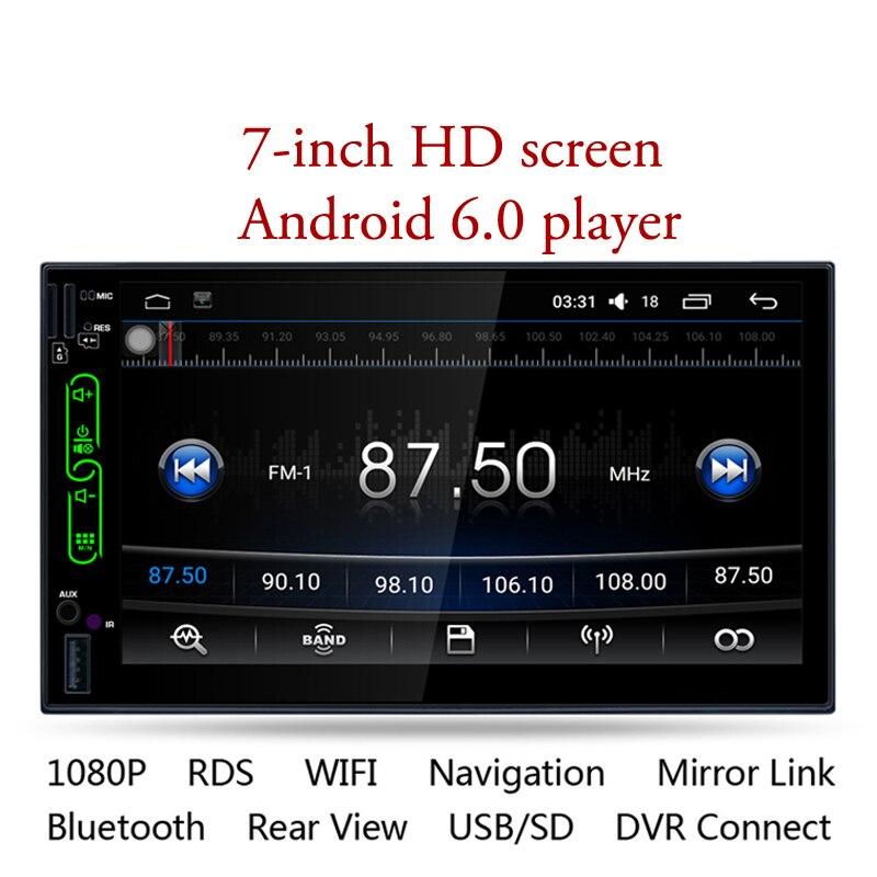 Громкой связи 7 дюймов Автомобильный мультимедийный плеер полный Сенсорный экран машина Quad core MP5 dual шпинделя BluetoothRear вид Регистраторы Диспл