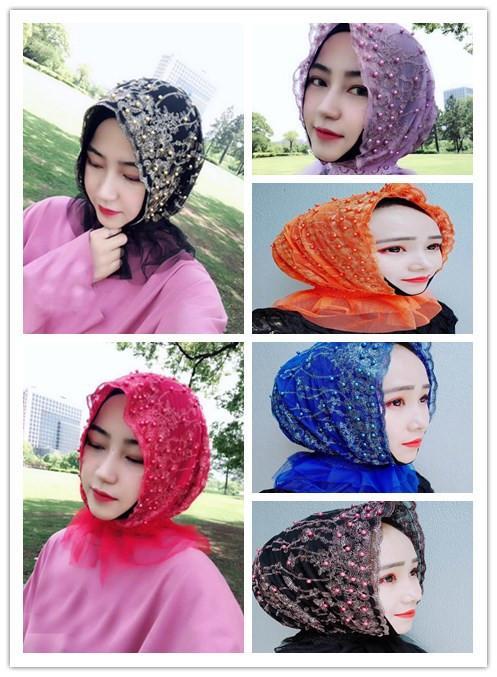 12PCS 2018 Fashion Muslim Women Embroidery Pearls Single-deck Mesh Lace Turban Hat Grenadine Beanies Head Scarf Hijab Cap New