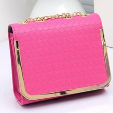 Candy color Girls PU Leather Women Handbag Chain Shoulder bag Crossbody Messenger bag cross Casual