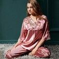 XIFENNI Marca Mulheres Conjuntos De Pijama De Seda de Cetim de Alta Qualidade Imitação de Seda Sleepwear Rendas Bordado Pijama Pijama Feminino 1352