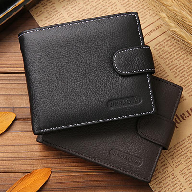 Men's Genuine Leather Wallet Cowhide Bifold Wallet ID Credit Card Holder Purse Short Bifold Wallets Vintage Designer Coin Purse