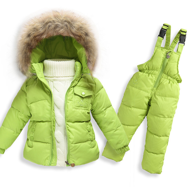 Baby Down Jacket Overall 2PCS Clothing Set Baby White Duck Down Coat Pant For Baby Girl Boy Kids Snow Wear Children Winter