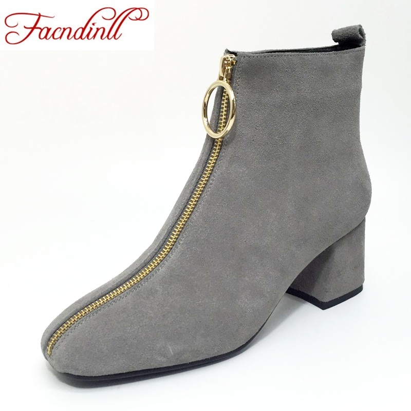 купить FACNDINLL autumn winter women boots 2018 shoes woman suede leather ankle boots black gray zipper high heels ladies riding boots по цене 3396.48 рублей