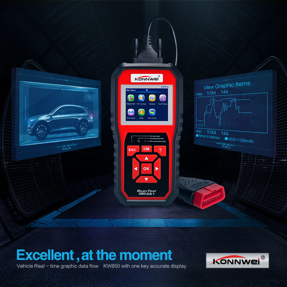 US $57 18 20% OFF|2019 Auto Scanner KONNWEI KW850 Full obd2 obdii  Diagnostic Tool Support Multi language one click update KW 850 Better Than  AL519-in