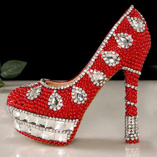 Popular high heel female lady's Women Bridal Evening shoe Red crystal beaded rhinestone  Prom Party club Bar Bridesmaid shoes