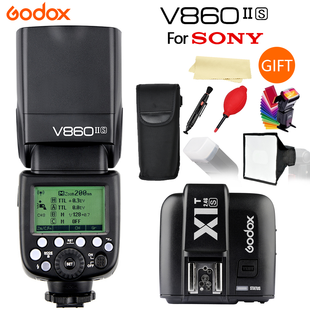 Godox V860II for Sony V860II-S Flash 2.4G 1/8000s TTL HSS 2000mAh Li-Battery Camera Flash Speedlite + X1T-S trigger + gift kit godox v860iis flash speedlite 2 v860ii s ttl hss 2 4g li ion battery x1t s trigger for sony dslr cameras supon free gift kit