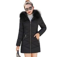 Hot sale 2019 Real Down Parka Women Jacket Winter Female Medium Long Cotton Big Hair Heavy Slim Padded Jacket