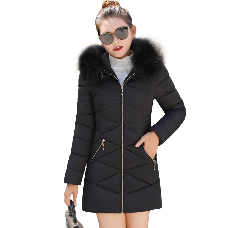 Hot sale 2019 Real Down   Parka   Women Jacket Winter Female Medium Long Cotton Big Hair Heavy Slim Padded Jacket