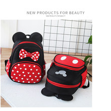 Disney Children's Backpack Bowknot Mickey Schoolbag for Girls and Boys Fashion Kindergarten Bag for Kids.(China)
