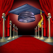 Laeacco Cartoon Graduation Cap Red Carpet Scene Baby Photography Backgrounds Customized Photographic Backdrops For Photo Studio