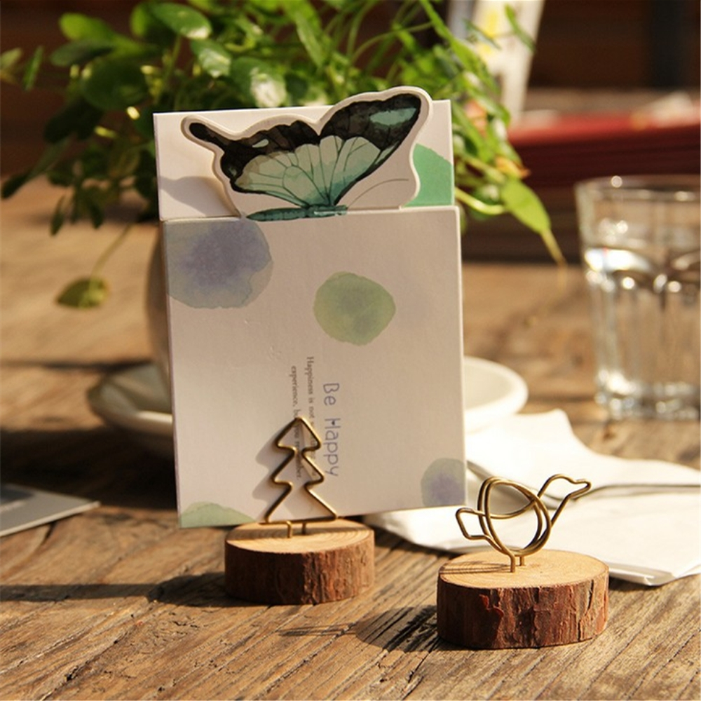 Wood Tree Bark Memo Clips Card Holder Stand DIY Desktop Paper Bookmark Photo Clips Message Office Supplies Handmade Stationery