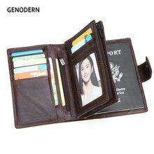 GENODERN Genuine Leather Men's Passport Cover Wallet Large Capacity Passport Holder Coin Purse Men Organizer Wallets Card Holder