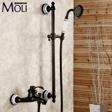 Montaż ścienny olej wcierać brąz bateria natryskowa czarny pojedynczy uchwyt kąpieli i deszczu prysznic kran z prysznicem strony